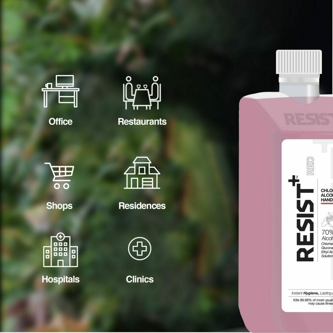 Resist+ Chlorhexidine Ethanol Hand Sanitizer : Keeps you safe from 99.99% germs