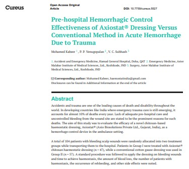 Pre-hospital Hemorrhagic Control Effectiveness of Axiostat