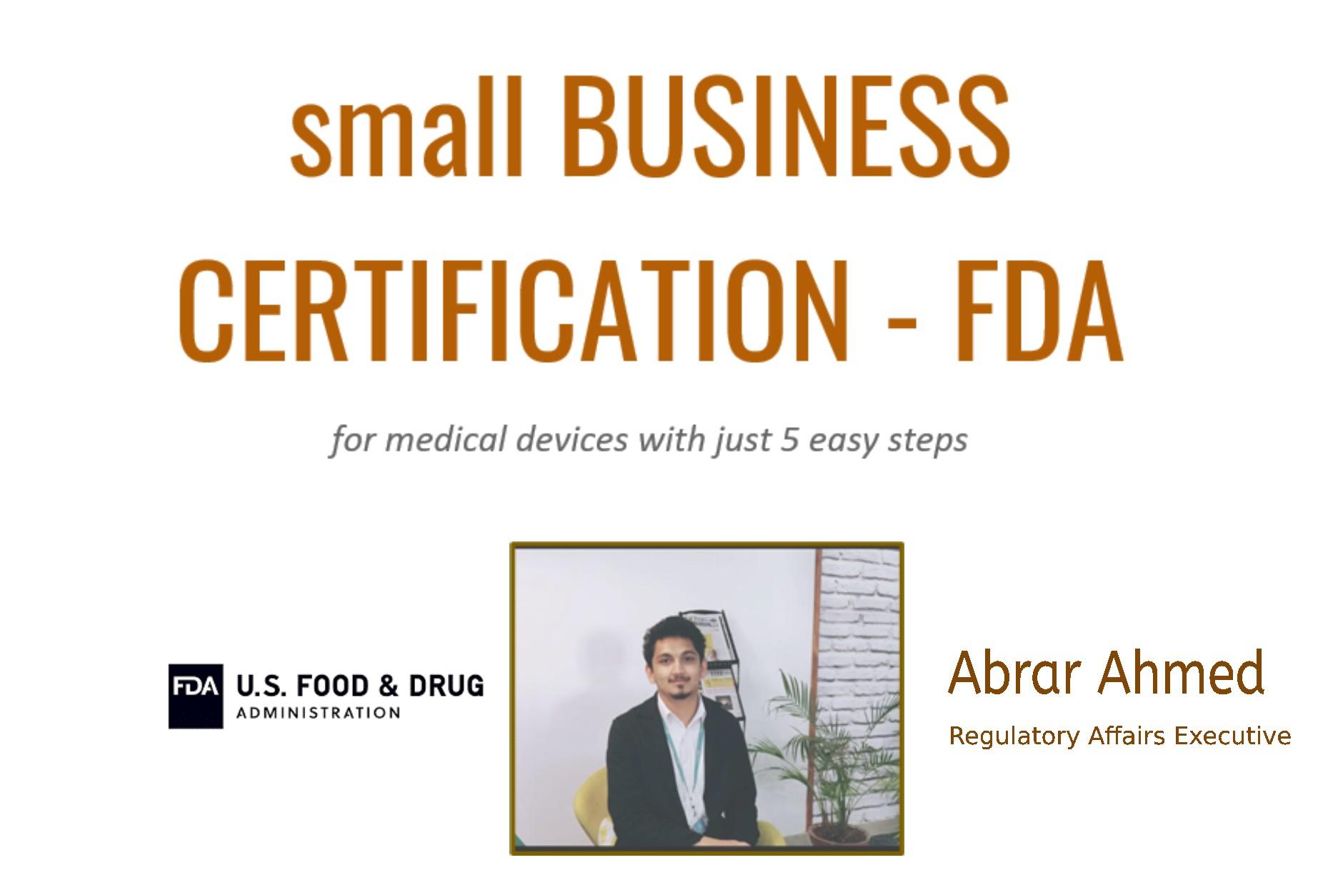 Small Business Certification – FDA